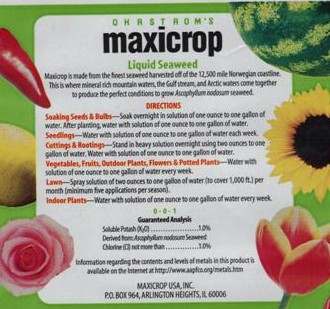 Maxicrop Label back