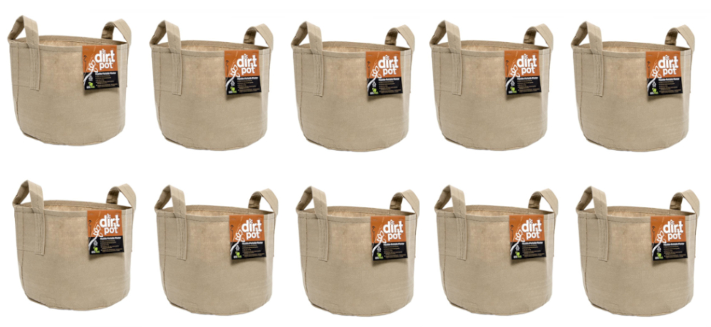 Hydrofarm Dirt Pot Reusable Planter, 7-Gallon with Handles Tan, HGDBT7H 10pk, Bundled with Automatic Plant Watering System, Capillary Mat, Wicking Strips 2-3 inch by 48 inch, Ten pack, Free Shipping