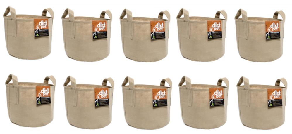 Hydrofarm Dirt Pot Reusable Planter, 7-Gallon Tan with Handles, HGDBT7H Ten Pack Free Shipping